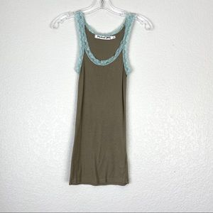 MICHAEL STARS Lace Trimmed Fitted Tank Top (O/S)